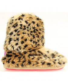 Blazin Roxx Women's Leopard Print Faux Fur Slipper Booties