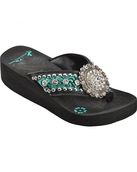 Montana West Embroidered Strap Rhinestone Concho Sandals