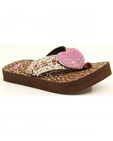 Blazin Roxx Girls' Studded Heart Concho Brown Flip Flops