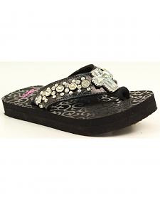 Blazin Roxx Girls' Mia Rhinestone Studded Cross Black Flip Flops