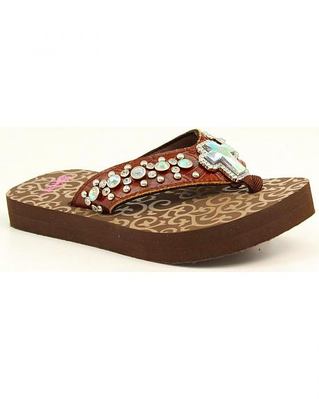 Blazin Roxx Girls' Mia Rhinestone Studded Cross Brown Flip Flops