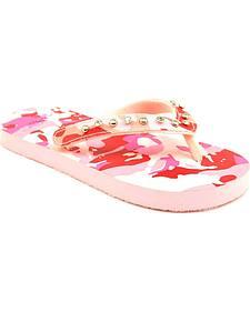 Blazin Roxx Girls' Lexie Pink Camo Flip Flops