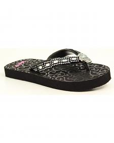 Blazin Roxx Girls' Black Journi Flip Flops