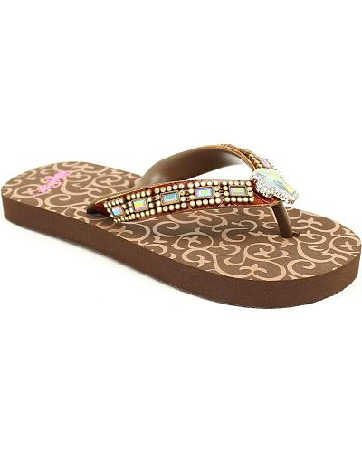 Blazin Roxx Girls Brown Journi Flip Flops Western & Country 4211202