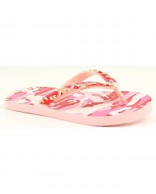 Blazin Roxx Lauren Pink Camo Crystal Flip Flops