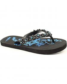 Blazin Roxx Kyler Aqua Star Crystal Flip Flops