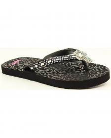 Blazin Roxx Leanne Black Cross Crystal Concho Flip Flops