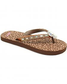 Blazin Roxx Leanne Brown Cross Crystal Concho Flip Flops