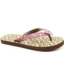 Blazin Roxx Maddie Leopard Print Pink Glitter & Crystal Cross Flip Flops