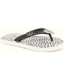 Blazin Roxx Maddie Leopard Print Black Glitter & Crystal Cross Flip Flops