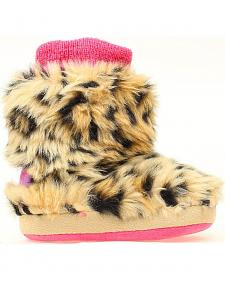 Blazin Roxx Infant Girls' Leopard Print Faux Fur Slippers