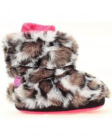 Blazin Roxx Infant Girls' Grey & Brown Leopard Print Faux Fur Slippers