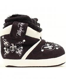 Blazin Roxx Infant Girls' Black Fleur-de-lis Embroidered Slippers