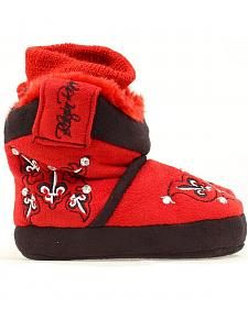 Blazin Roxx Infant Girls' Red Fleur-de-lis Embroidered Slippers