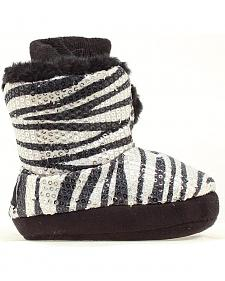 Blazin Roxx Infant Girls' Zebra Print Sequin Slippers