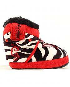 Blazin Roxx Infant Girls' Zebra Print with Red Embroidery & Rhinestone Slippers