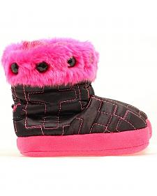 Blazin Roxx Infant Hot Pink & Black Cross Stitched Slippers
