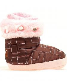 Blazin Roxx Infant Girls' Brown & Pink Cross Stitched Slippers
