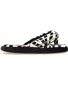 Blazin Roxx Women's Zebra Print Flip Flop Slippers