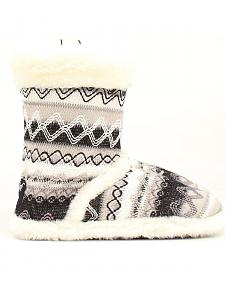 Blazin Roxx Women's White Woven Slipper Booties