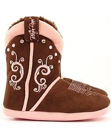 Blazin Roxx Women's Brown & Pink Cowgirl Boot Slipper Booties
