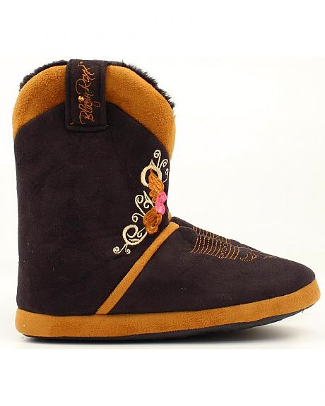 Blazin Roxx Women's Black & Tan Floral Embroidered Cowgirl Boot Slipper Booties