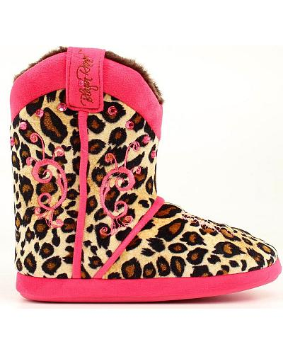 Blazin Roxx Womens Leopard Print & Pink Slipper Booties Western & Country 5713029