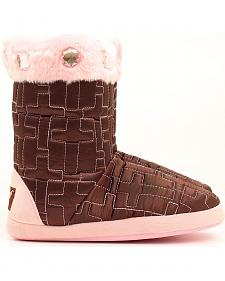 Blazin Roxx Women's Brown Quilted Cross Slipper Booties