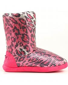 Blazin Roxx Women's Pink Leopard Print Sequin Slipper Booties