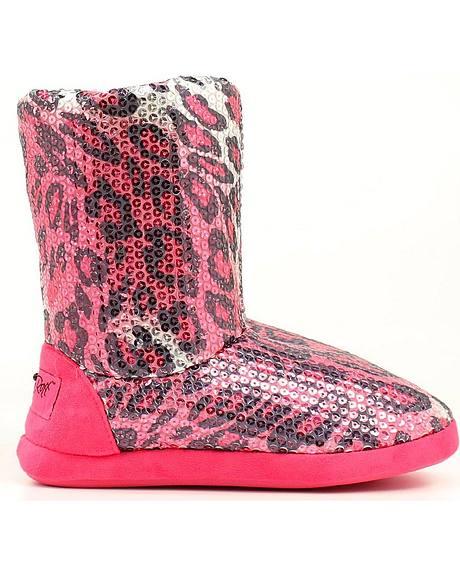 Blazin Roxx Women's Pink Leopard Print Sequin Slipper Booties