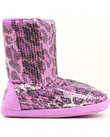 Blazin Roxx Women's Purple Leopard Print Sequin Slipper Booties