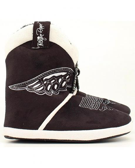 Blazin Roxx Women's Black & White Wing & Cross Slipper Booties