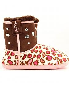 Blazin Roxx Women's Brown & Pink Leopard Print Slipper Booties
