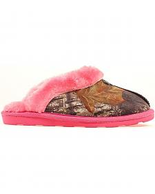 Women's Camouflage & Pink Fleece Slippers