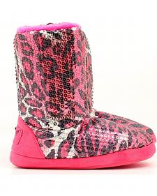 Blazin Roxx Youth Girls' Pink Leopard Print Sequin Slipper Booties