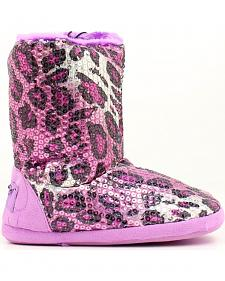 Blazin Roxx Youth Girls' Purple Leopard Print Sequin Slipper Booties