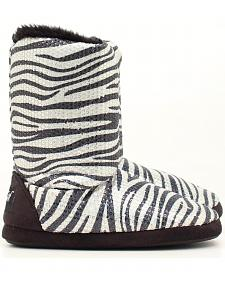 Blazin Roxx Youth Girls' Zebra Print Sequin Slipper Booties