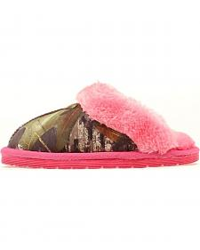 Blazin Roxx Youth Girls' Camo & Pink Fleece Slippers