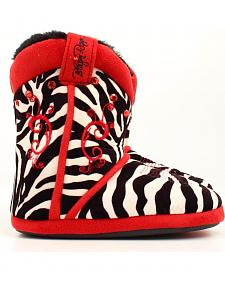 Blazin Roxx Youth Girls' Red Embroidered Zebra Print Slippers
