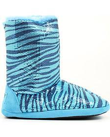 Blazin Roxx Blue Sequin Zebra Print Slippers