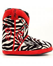 Blazin Roxx Red Embroidered Zebra Print Slippers