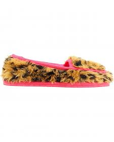 Blazin Roxx Girls' Faux Fur Leopard Print Crystal Concho Slippers
