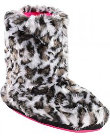 Blazin Roxx Girls' Leopard Print Plush Bootie Slippers