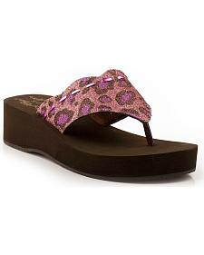 Roper Girls' Glittery Leopard Print Wedge Sandals