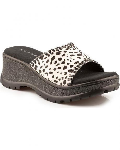Roper Animal Print Hair-on-Hide Wedge Sandals