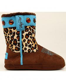 Blazin Roxx Leopard Print Cowgirl Slipper Booties