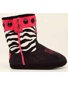 Blazin Roxx Women's Zebra Print Cowgirl Slipper Booties