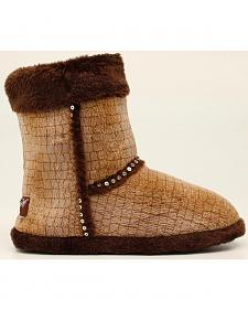 Blazin Roxx Plush Brown Sequin Slipper Booties