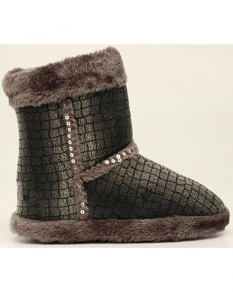 Blazin Roxx Plush Gray Sequin Slipper Booties