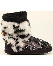Blazin Roxx Leopard Print Furry Sequin Slipper Booties